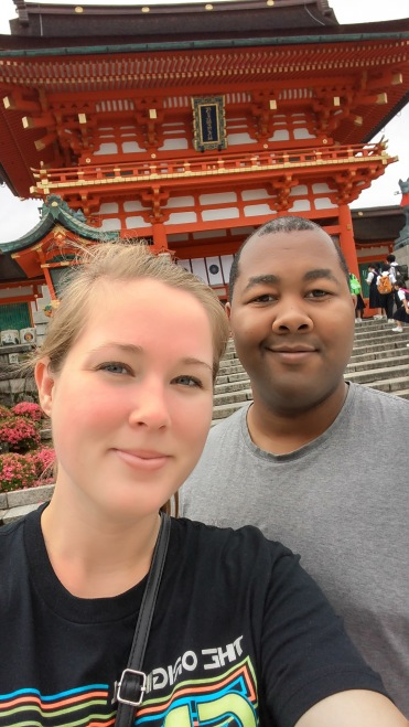 Enjoying our time at the Fushimi-Inari shrine in Japan